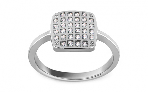 Rhodium plate 925 Silver ring decorated with cubic zirconia - IS3239