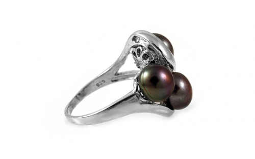 Vintage Grape purple pearls Women's Ring on 925Sterling Silver Rhodium plated - IS791P
