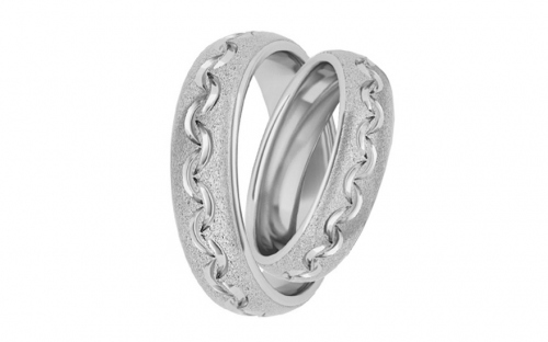 Rhodium plated sterling Silver rings sanded - STOB128AG