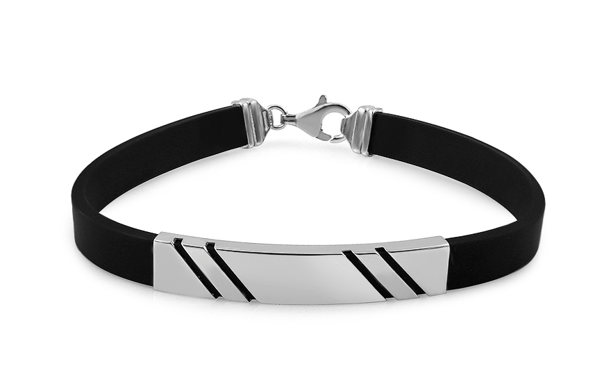 Silver rubber bracelet with plate - IS2542