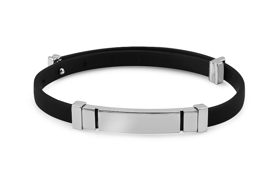 Silver rubber bracelet with plate - IS2609