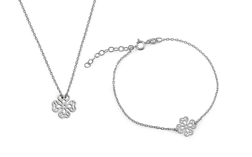 71e79262edbf4 Rhodium plated Silver set Bracelet and Necklace decorated cubic zirconia