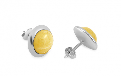 Silver Stud Earrings with Yellow Amber  - IS2054LZ