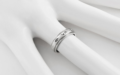 Rhodium plated sterling Silver wedding rings - STOB12AG
