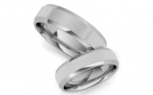 Rhodium plated sterling Silver wedding rings - STOB13AG