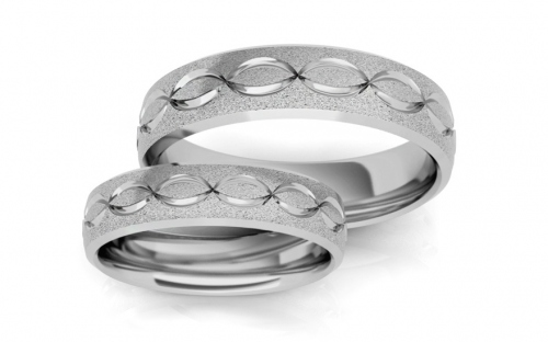 Rhodium plated sterling Silver wedding rings pattern infinity - STOB125AG