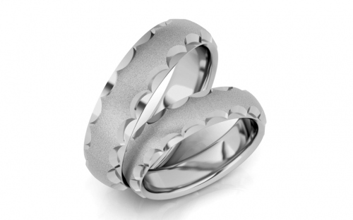 Rhodium plated sterling Silver wedding rings sanded - STOB124AG