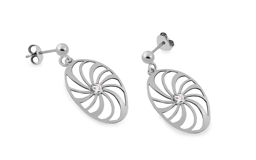 Sterling Silver Earrings Flower with Cubic Zirconia