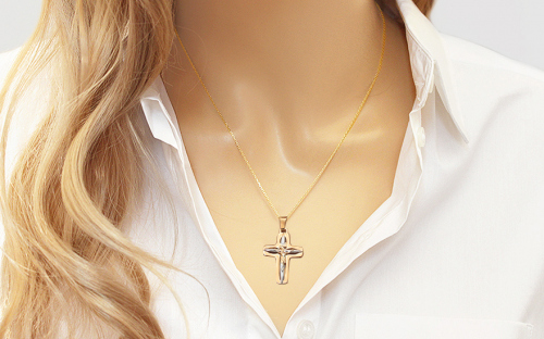 Two tone gold pendant cross with the Torture of Christ - IZ8471L