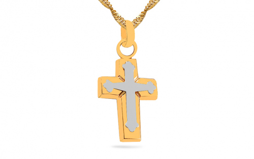 Gold two-tone pendant cross for women - IZ9PA014
