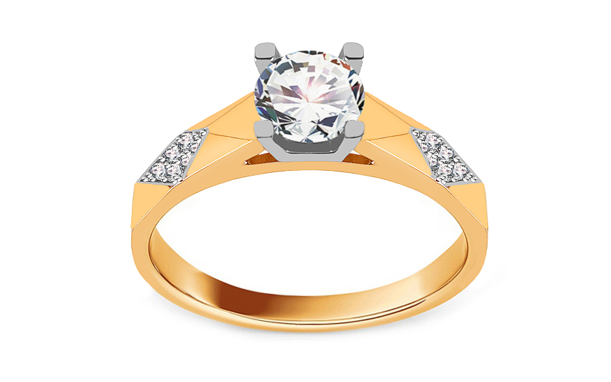 Two-Tone Gold Engagement Ring with Zircons - IZ17328