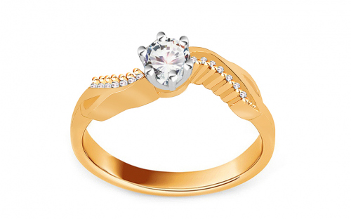 "Two-Tone Gold Engagement Ring with Zircons ""Isarel 14"" - CSRI802"