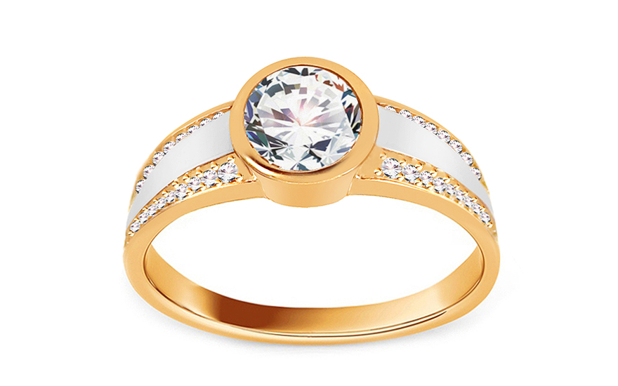 "Two-Tone Gold Engagement Ring with Zircons ""Tallys"" - IZ11285"
