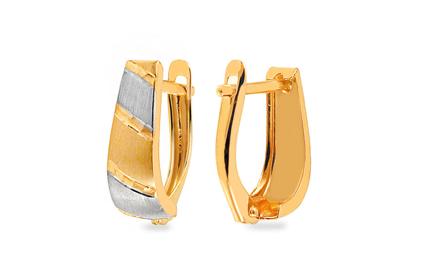 Two Tone Gold Engraved Latch Back Earrings - IZ11345