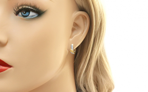 Two Tone Gold Engraved Latch Back Earrings - IZ11345 - on a mannequin
