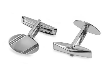 White gold matt cuff links with engraving