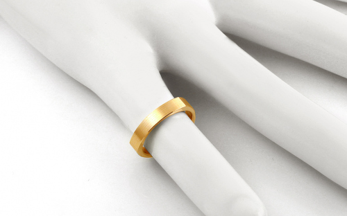 Matted gold wedding rings, width 3.6 mm - STOB198