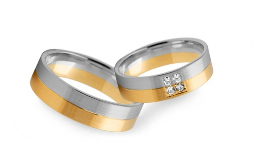Wedding rings two-tone with zircons 4 mm wide - STOB232