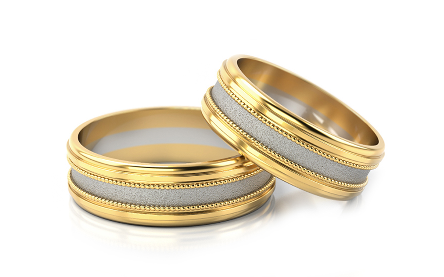 Wedding Bands Two Tone width 6.5 mm - STOB142