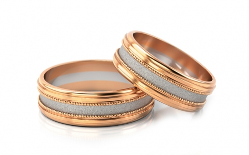 Wedding Bands Two Tone width 6.5 mm - STOB142R