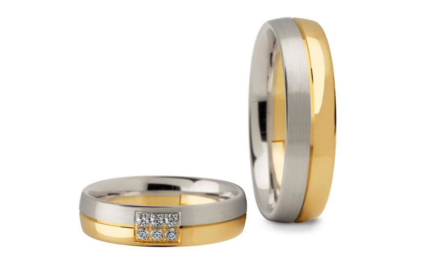 Wedding Bands Two Tone with Stones width 5 mm - STOB259
