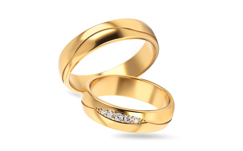 Wedding bands with cubic zirconia width 5 to 6 mm - STOB296V