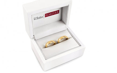 Wedding rings gold with sandblasted finish width 4 to 6 mm - STOB021V - in a box