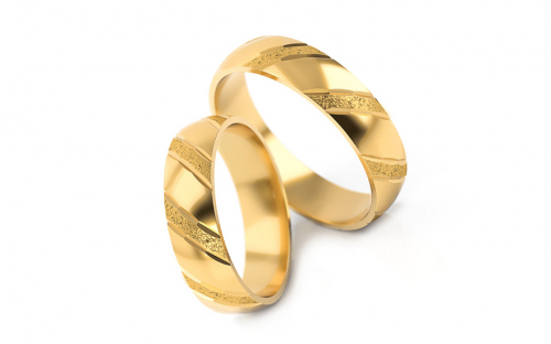Wedding rings gold with sandblasted finish width 4 to 6 mm - STOB021V