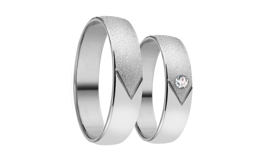 Wedding bands with stones width 4mm - RYOB114