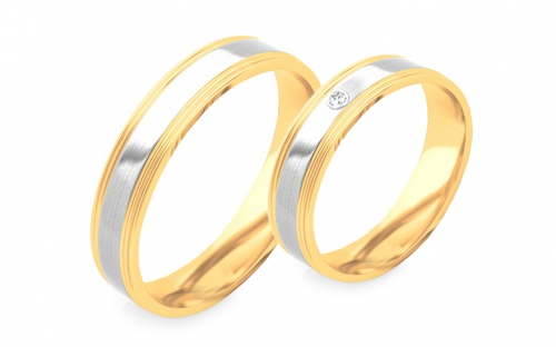 Wedding bands with stones width 4mm - STOB294
