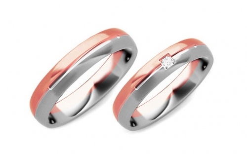 Wedding bands with stones width 4mm - STOB236R