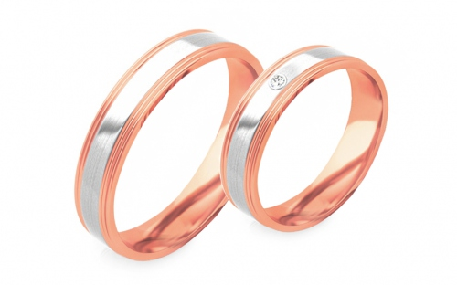 Wedding bands with stones width 4mm - STOB294R