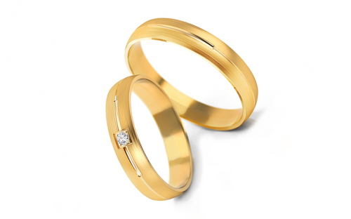Wedding bands with stones width 4mm - STOB236Y