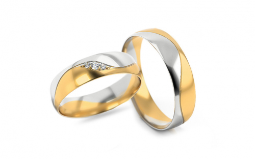 Wedding bands with stones width 5mm - STOB276