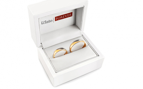 Wedding bands with stones width 5mm - STOB276 - in a box