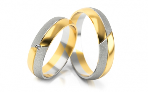 Wedding bands with stones width 5mm - STOB076