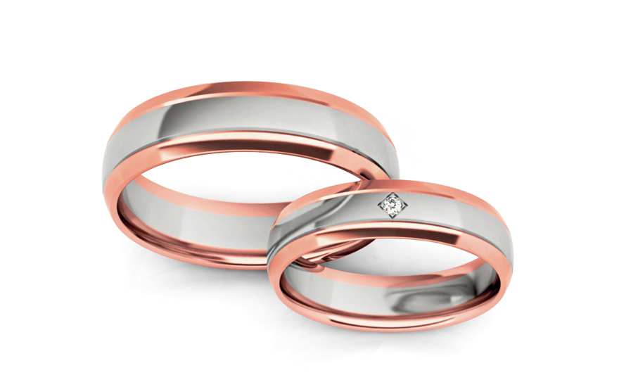 Wedding bands with stones width 5mm - STOB255R