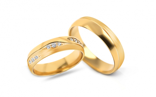 Wedding bands with stones width 5mm - STOB287Y