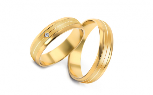 Wedding bands with stones width 5mm - STOB240Y