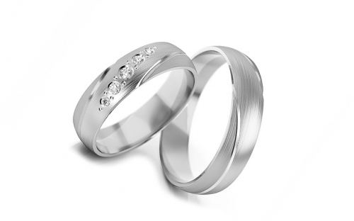 Wedding bands with stones width 5mm - STOB302A