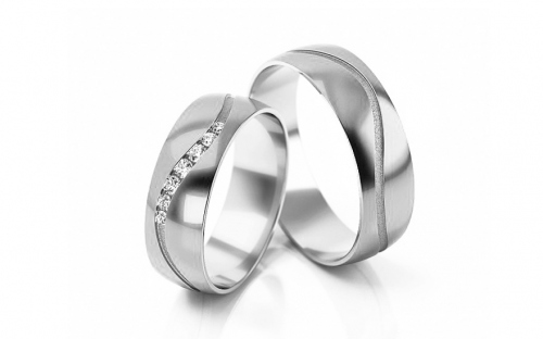 Wedding bands with stones width 5mm - STOB307A