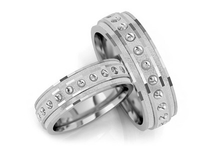 Rhodium plated sterling silver wedding rings
