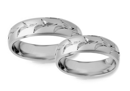 Rhodium plated sterling silver Sandblasted silver wedding rings