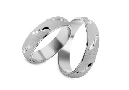 Rhodium plated sterling Silver rings dull width of 5 mm