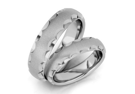 Rhodium plated sterling Silver wedding rings sanded