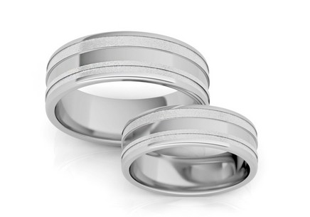 Rhodium plated Sterling Silver wedding rings width 7 mm
