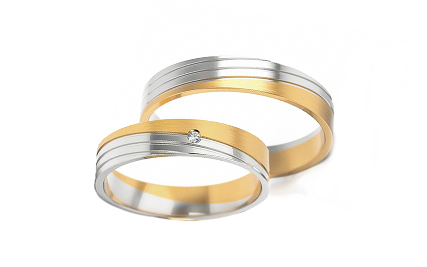 Wedding rings two-tone with stone width 4.5 mm - STOB299