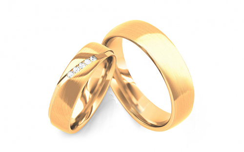 Wedding bands with cubic zirconia width 5mm - STOB269