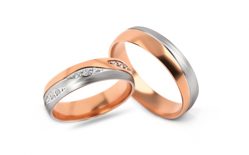 Wedding bands with cubic zirconia width 5mm - STOB287R