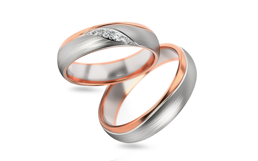 Wedding bands with cubic zirconia width 5mm - STOB283R